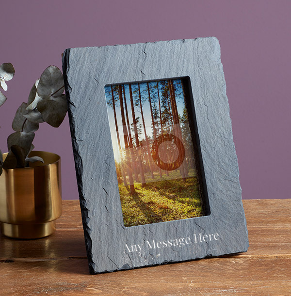 Any Text Personalised Slate Photo Frame - Portrait - 2 Line