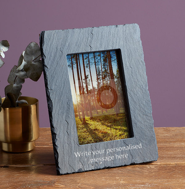 Any Text Personalised Slate Photo Frame - Portrait