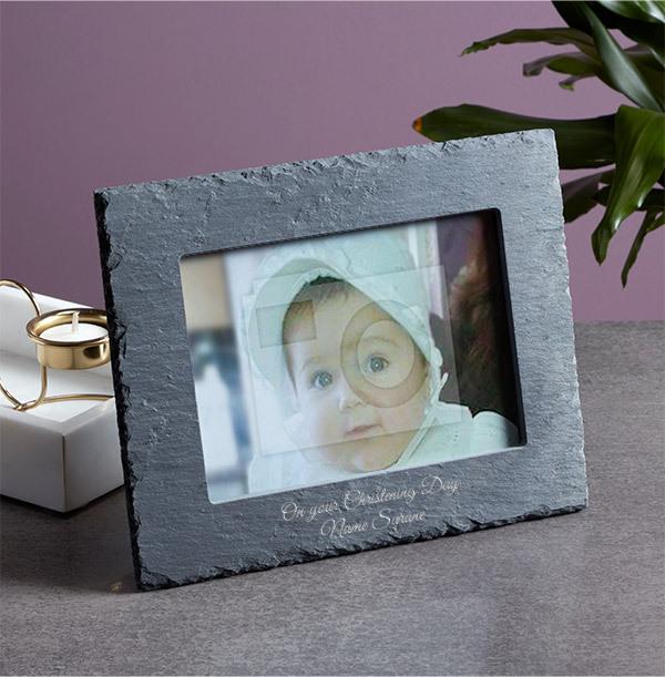 Christening Personalised Slate Photo Frame - Landscape