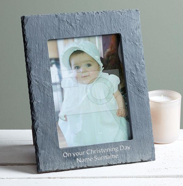 Christening Personalised Slate Photo Frame - Portrait