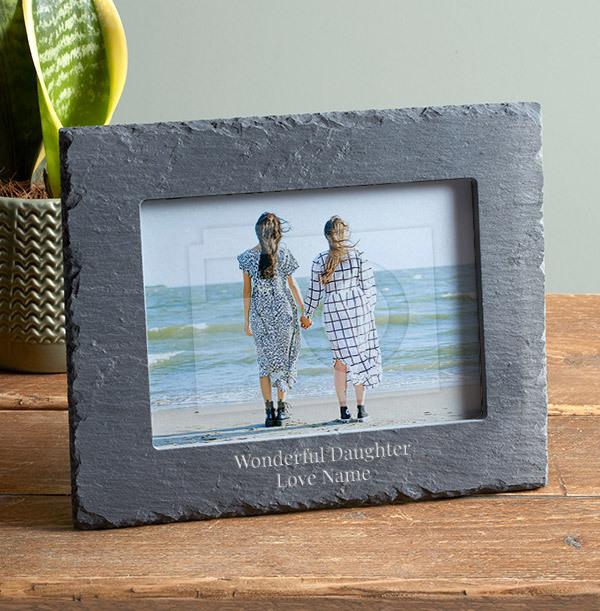 Wonderful Daughter Personalised Slate Photo Frame - Landscape