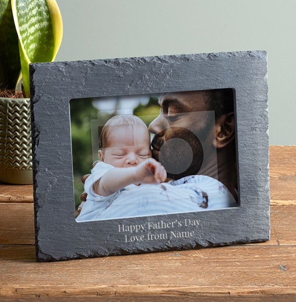 Father's Day Personalised Slate Photo Frame - Landscape
