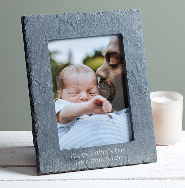 Father's Day Personalised Slate Photo Frame - Portrait