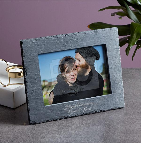 Anniversary Personalised Slate Photo Frame - Landscape