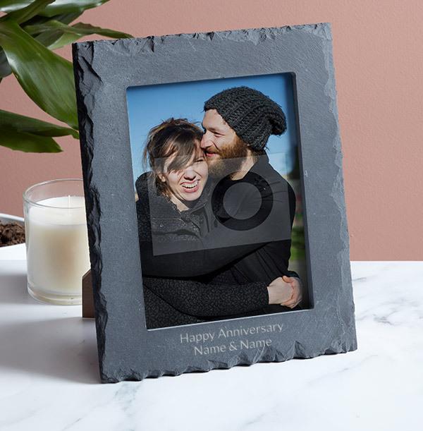 Anniversary Personalised Slate Photo Frame - Portrait