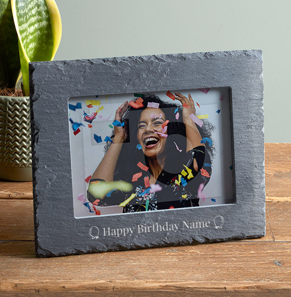 Birthday Personalised Slate Photo Frame - Landscape