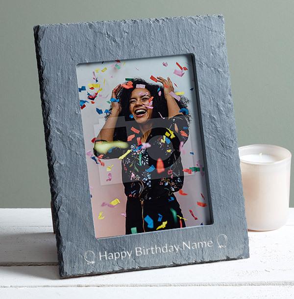 Birthday Personalised Slate Photo Frame - Portrait