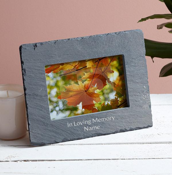 Memorial Personalised Slate Photo Frame - Landscape