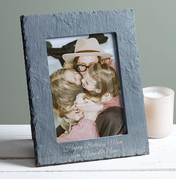 Happy Birthday Mum Personalised Slate Frame - Portrait