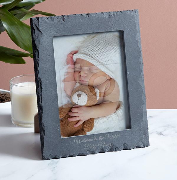 New Baby Personalised Slate Photo Frame - Portrait