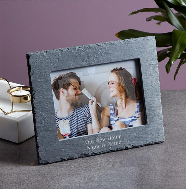 New Home Personalised Slate Photo Frame - Landscape