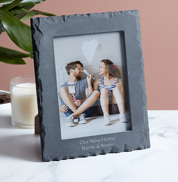 New Home Personalised Slate Photo Frame - Portrait