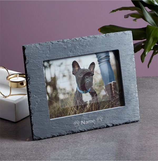 Pet Personalised Slate Photo Frame - Landscape