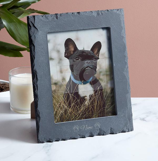 Pet Personalised Slate Photo Frame - Portrait