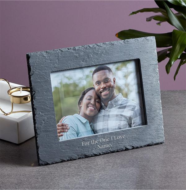 Romantic Personalised Slate Photo Frame - Landscape