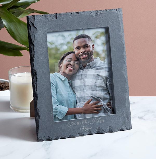 Romantic Personalised Slate Photo Frame - Portrait