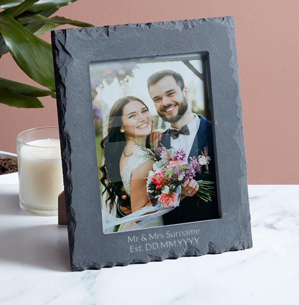 Wedding Personalised Slate Photo Frame - Portrait