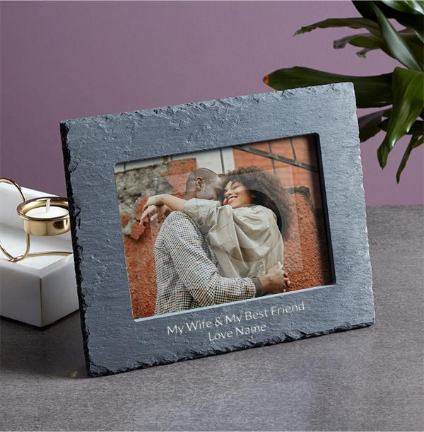 My Wife & My Best Friend Personalised Slate Frame - Landscape