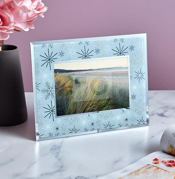 Silver Snowflake Glass Photo Frame - Landscape