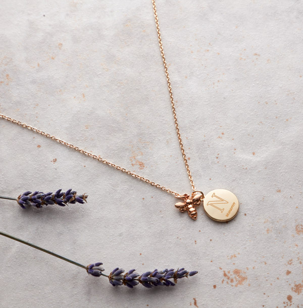 Initial & Date Bee Charm Necklace - Personalised