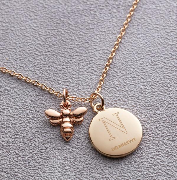 Initial & Date Bee Charm Bracelet - Personalised