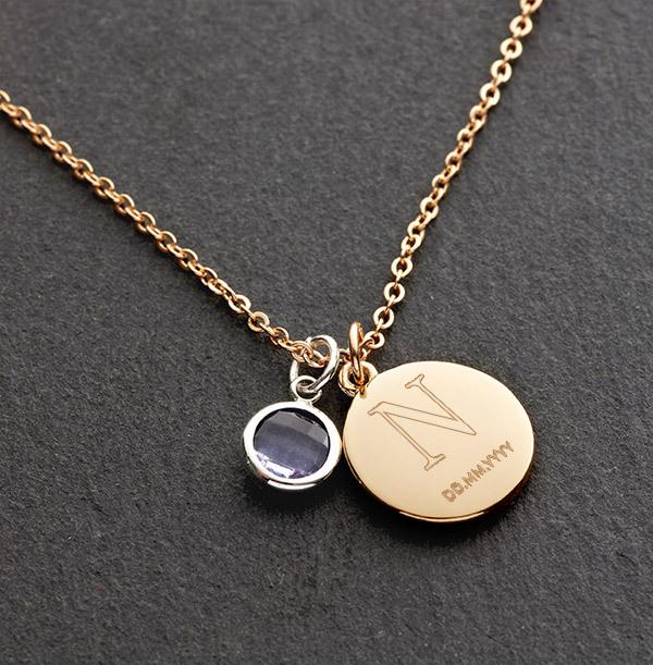 Initial & Date Birthstone Bracelet - Personalised