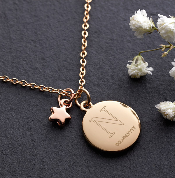 Initial & Date Star Charm Necklace - Personalised