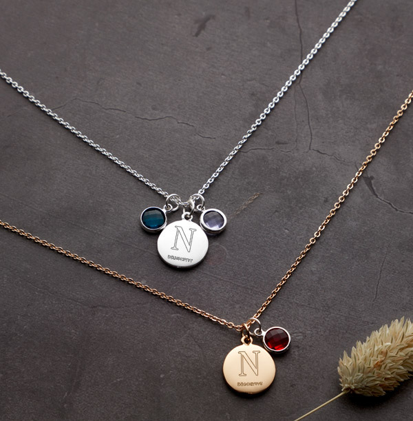 Initial & Date Birthstone Necklace - Personalised