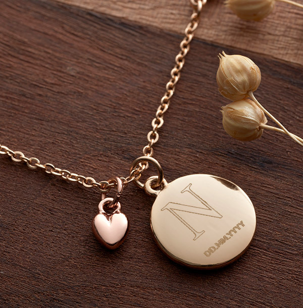Initial & Date Heart Charm Necklace - Personalised