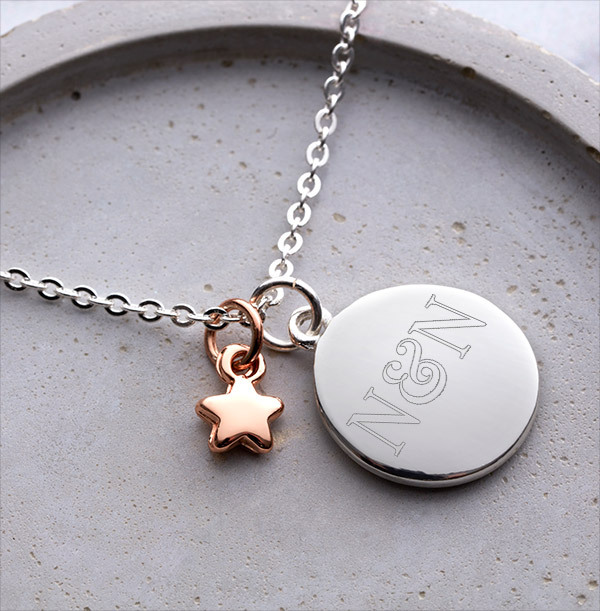 Couples Initials Star Charm Bracelet - Personalised