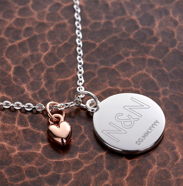 Two Initials & Date Heart Charm Bracelet - Personalised