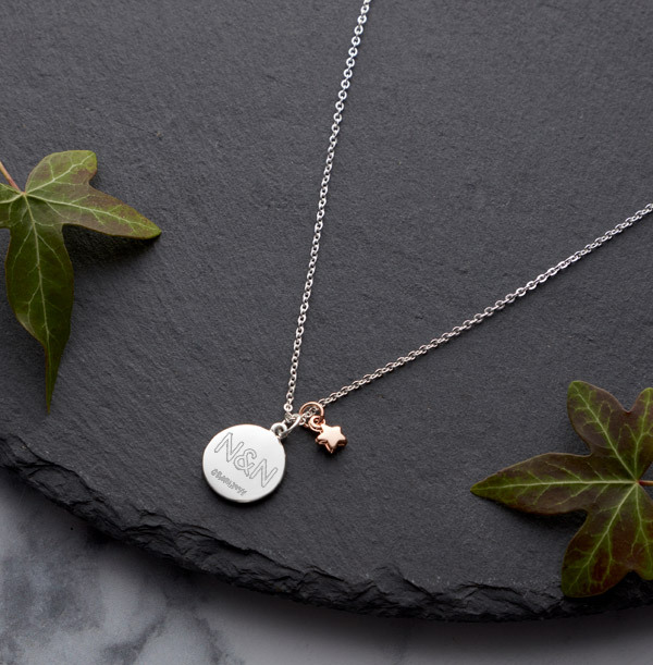Two Initials & Date Star Charm Necklace - Personalised