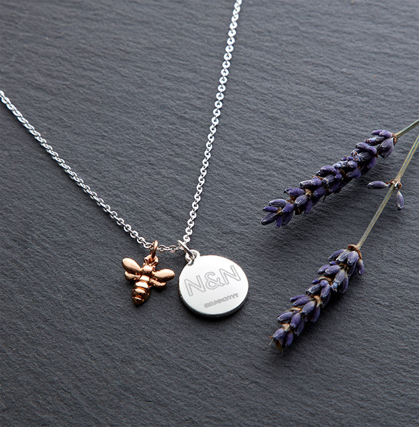 Two Initials & Date Bee Charm Necklace - Personalised