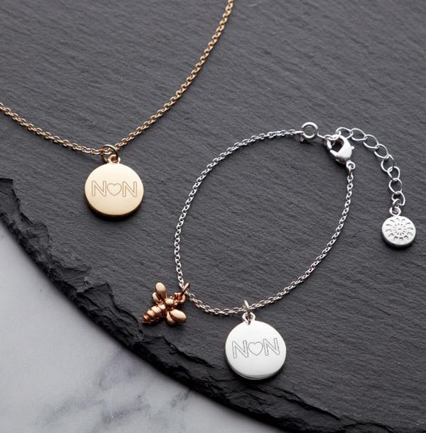 Heart Initials Bee Charm Bracelet - Personalised