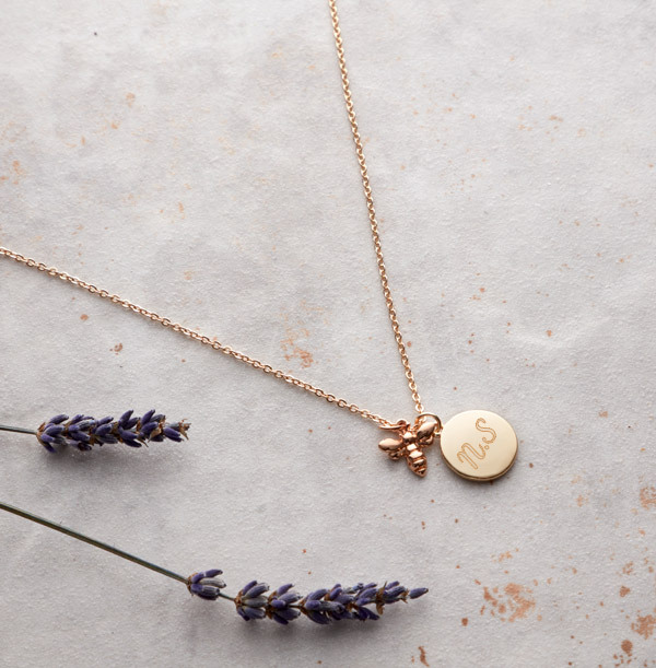 Two Initials Bee Charm Necklace - Personalised