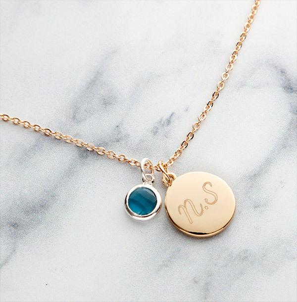Two Initials Birthstone Bracelet - Personalised