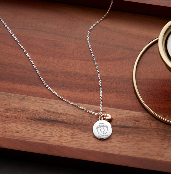 Foot Print Heart Charm Necklace - Personalised