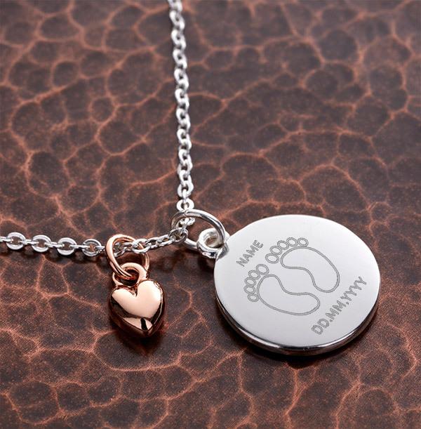 Foot Print Heart Charm Bracelet - Personalised