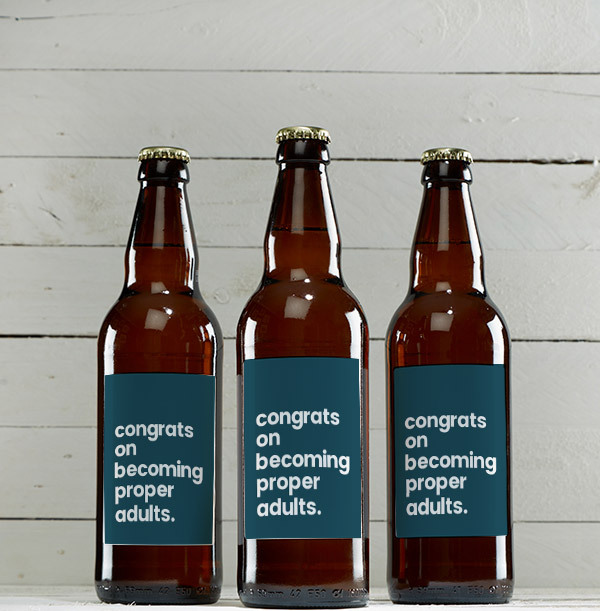 Congrats on Becoming Proper Adults Personalised Beer - Multi Pack