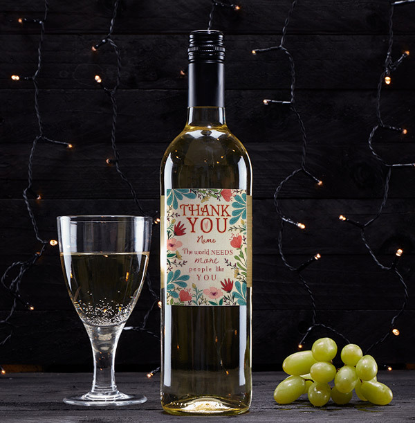 Personalised Thank You White Wine