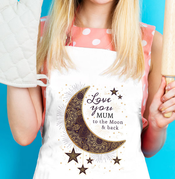 Love You to the Moon and Back Mum Personalised Apron