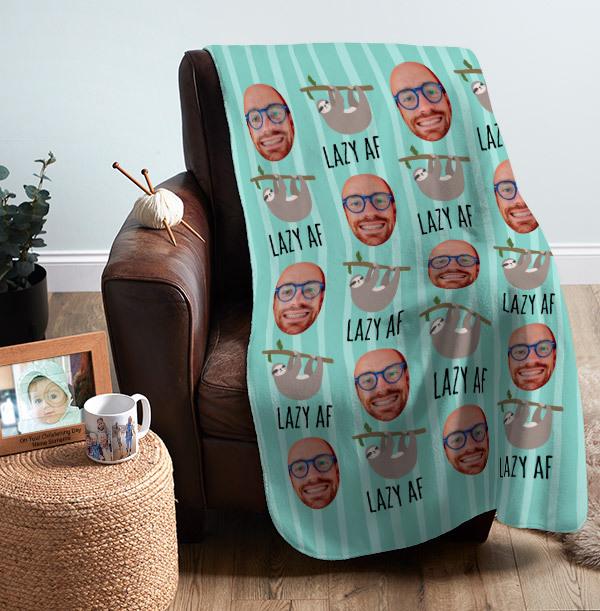 Lazy AF Photo Upload Personalised Blanket