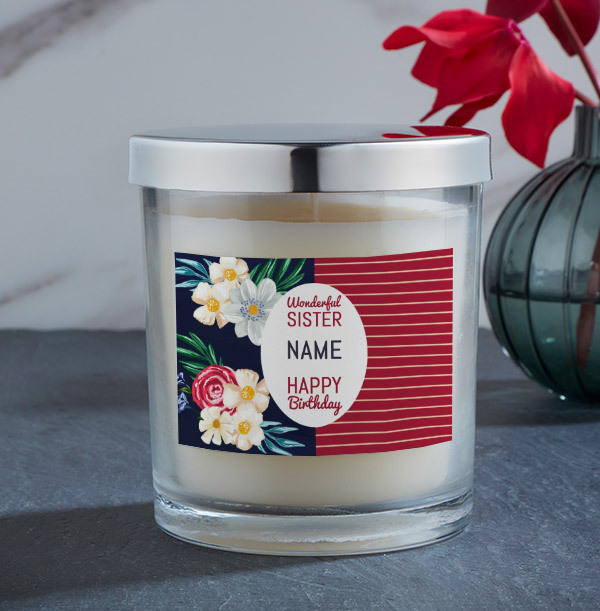 Happy Birthday Sister Personalised Candle