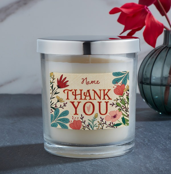 Floral Thank You Personalised Candle