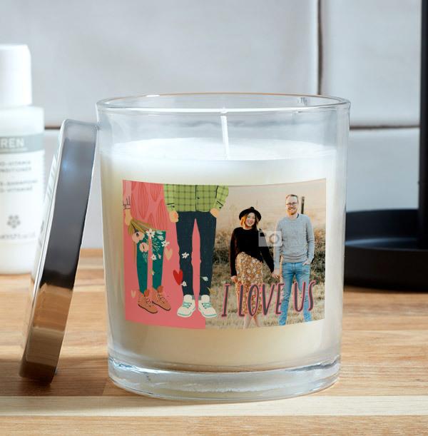 I Love Us Photo Candle