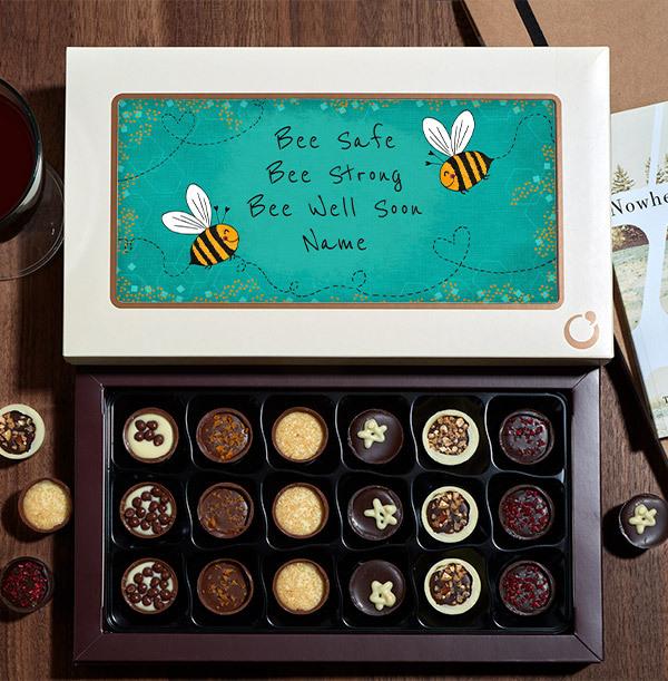 Bee Well Soon Personalised Chocolate - Box of 18