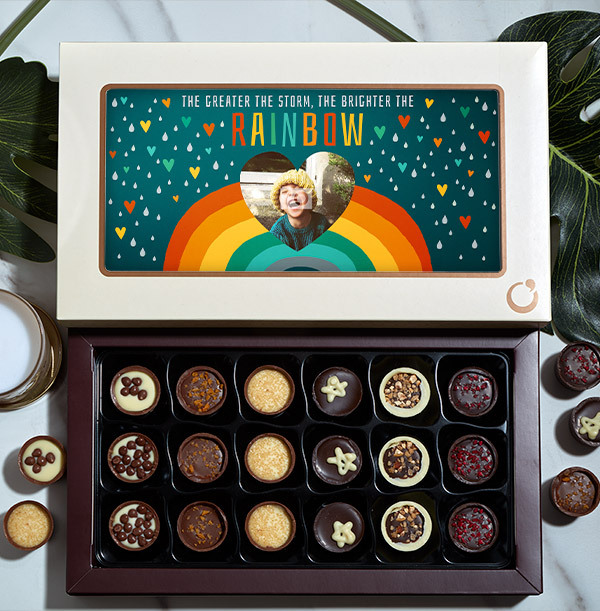 Greater The Storm, Brighter The Rainbow Photo Chocolates - Box of 18