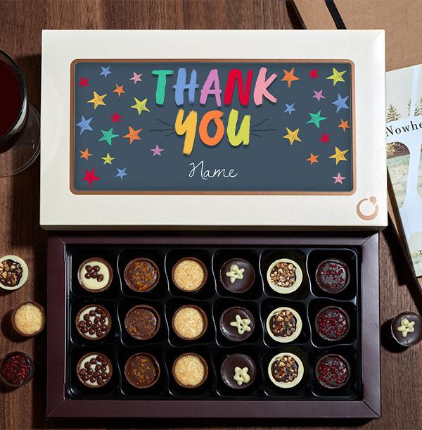 Rainbow Thank You Personalised Chocolates - 18 Box