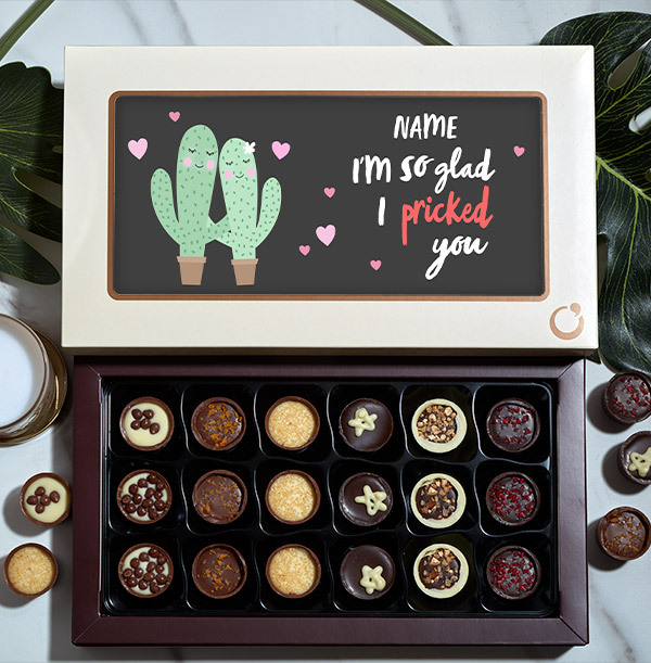 I'm So Glad I Pricked You Personalised Chocolates - 18 Box