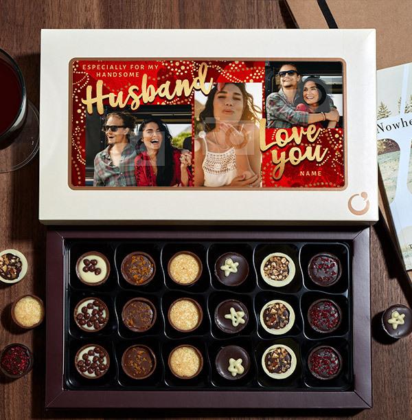 Especially For My Husband Photo Chocolates - 18 Box